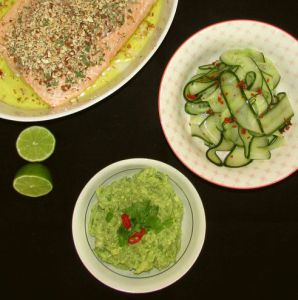 guacamole, agurkesalt og lakt