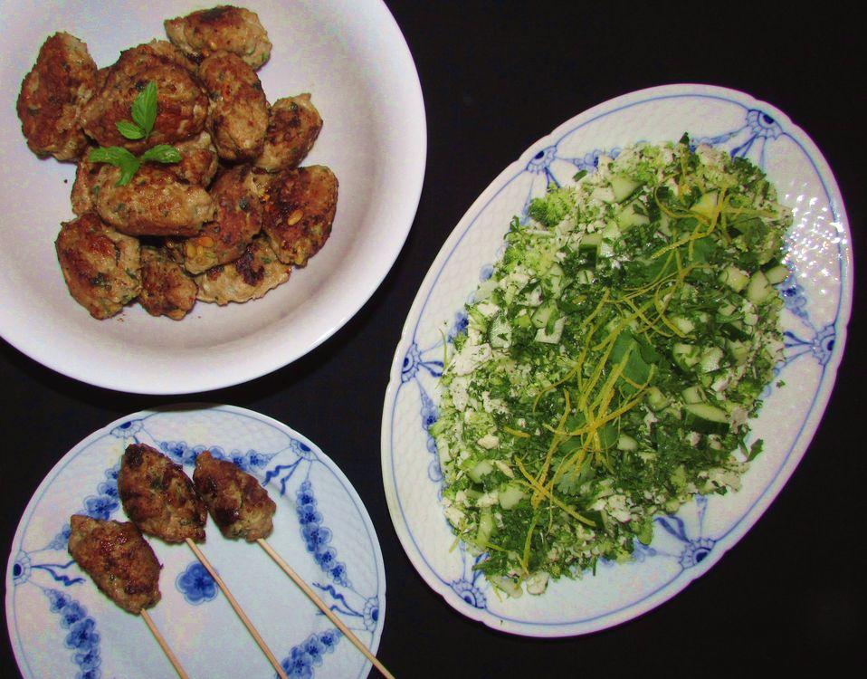 Orientalske frikadeller med grøn tabouleh